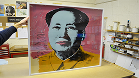 Mao by Andy Warhol, custom picture framing by us.